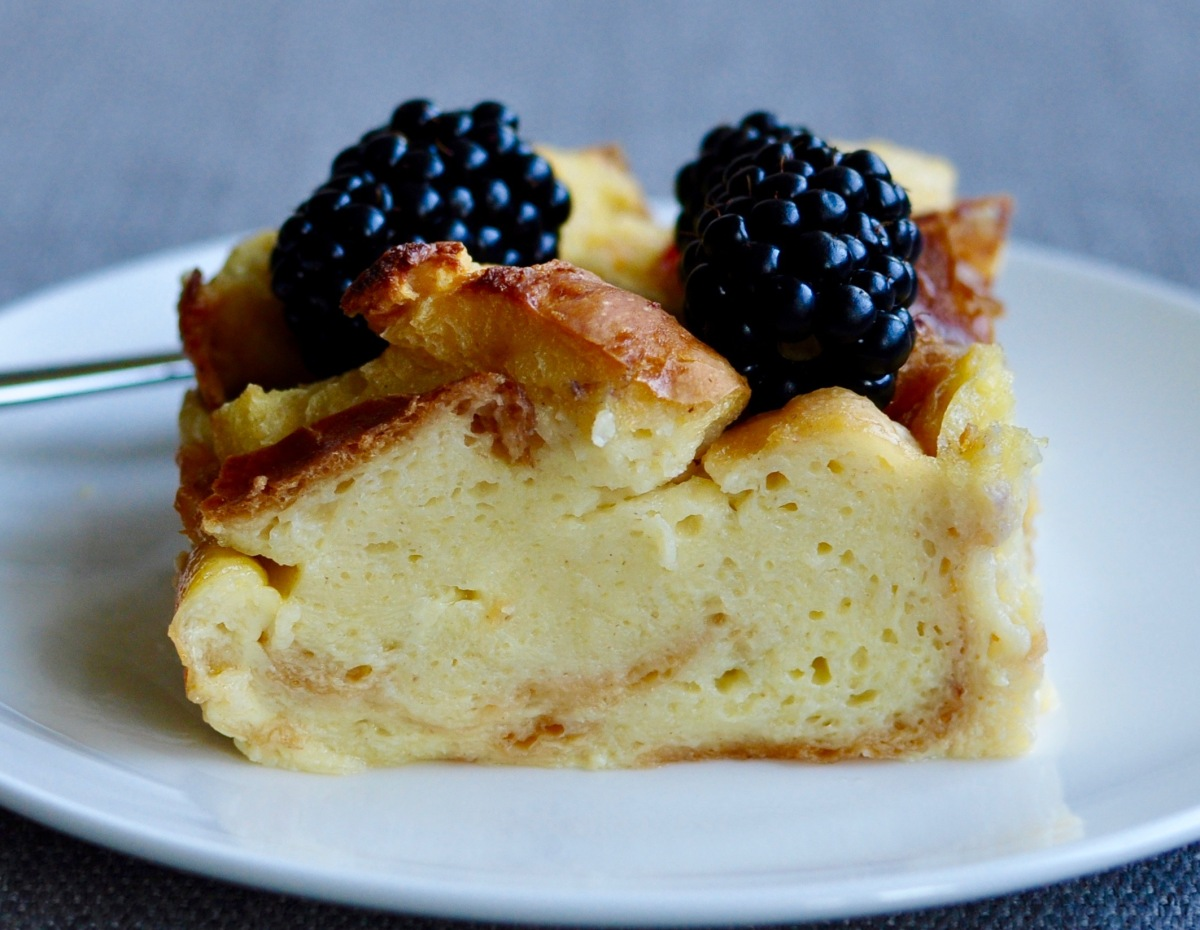 Brioche Bread Pudding with Blackberries