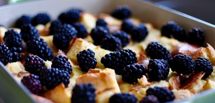 Brioche Bread Pudding with Blackberries