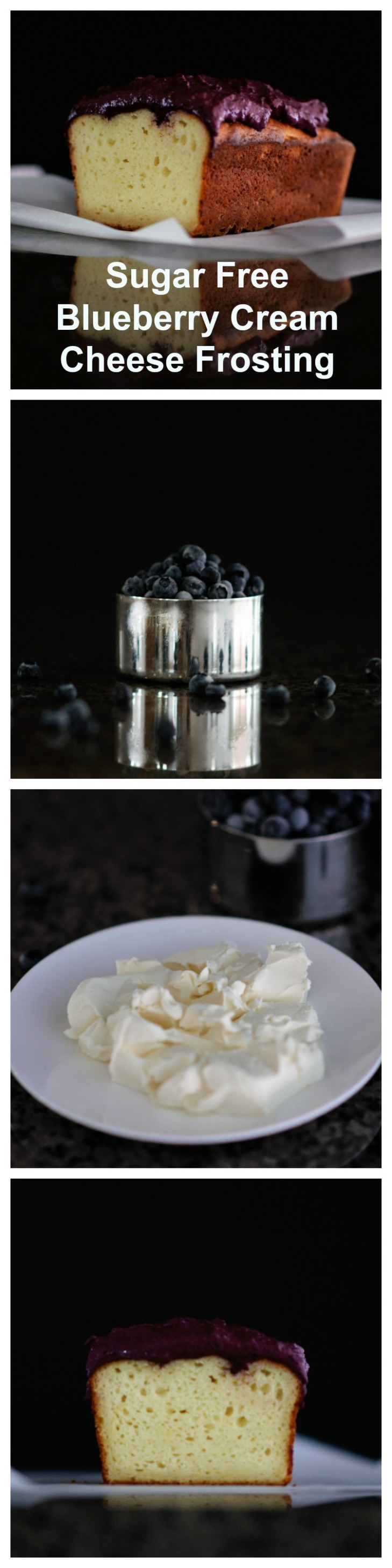 Sugar Free Blueberry Cream Cheese Frosting Collage
