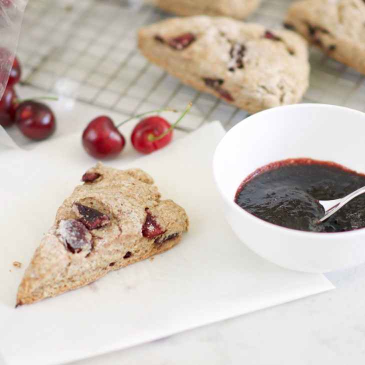 Whole Grain Cherry Scones with Balsamic Cherry Compote