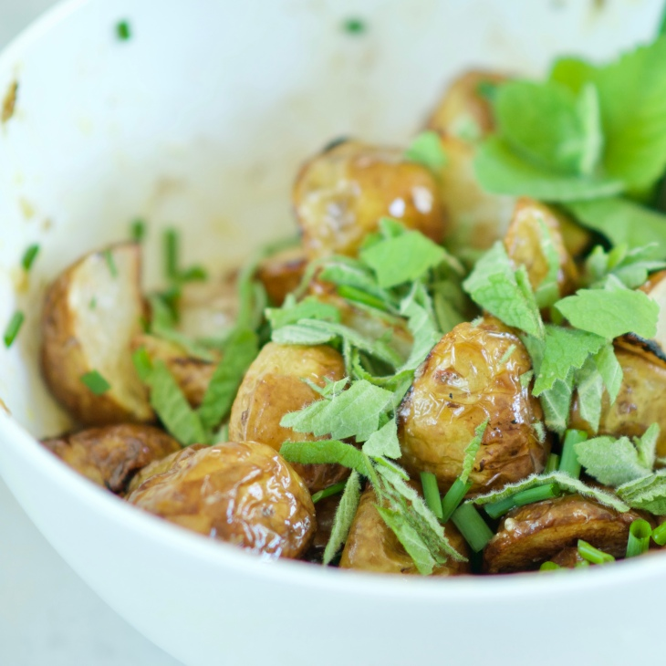 Lemon Roasted Potatoes with chive and mint Potatoes don't need to be boring