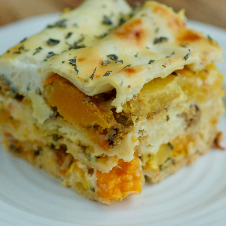 Roasted Butternut Squash Lasagna with hazelnuts, sage and garlic