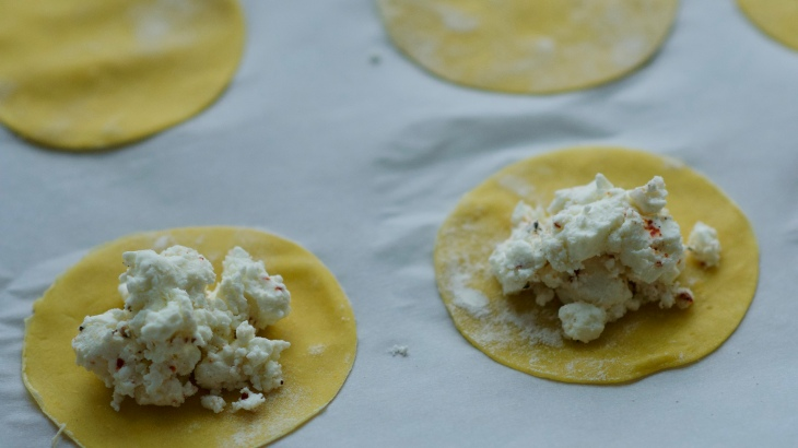 ravioli rounds filled with goat cheese