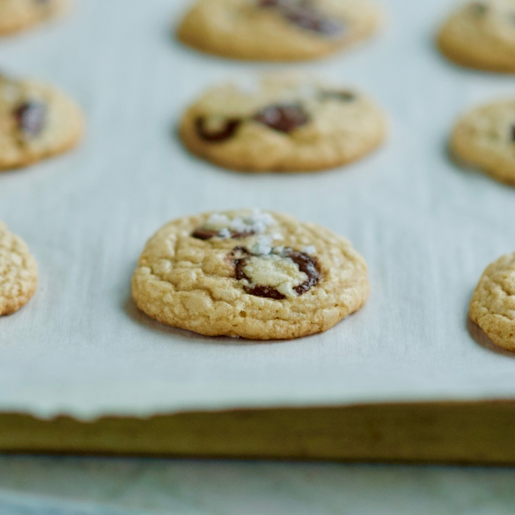 chewy chocolate chip cookies on a pan