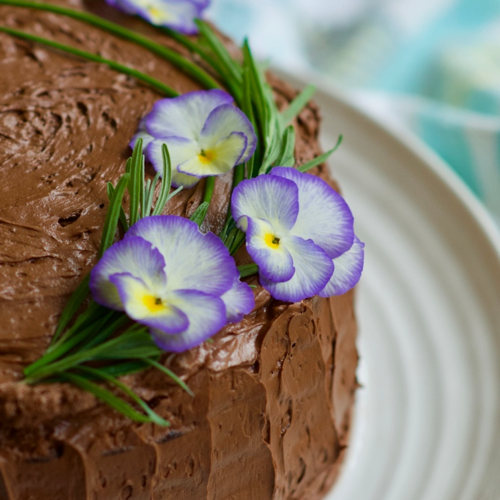 chocolate cake with edible flowers