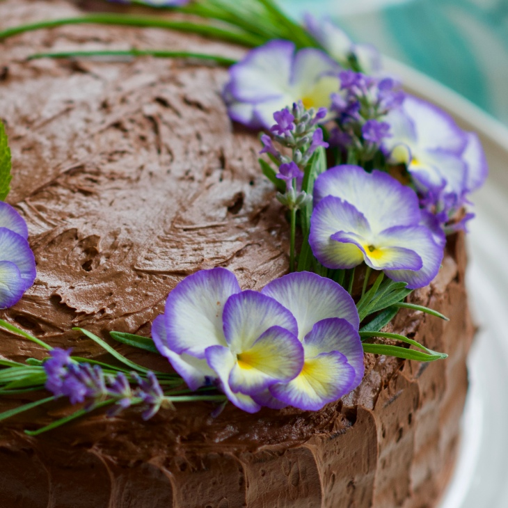 rebar chocolate cake with edible flowers