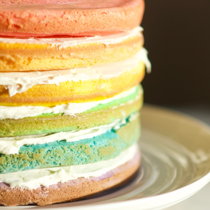 Easy Rainbow Birthday Cake with cream cheese icing