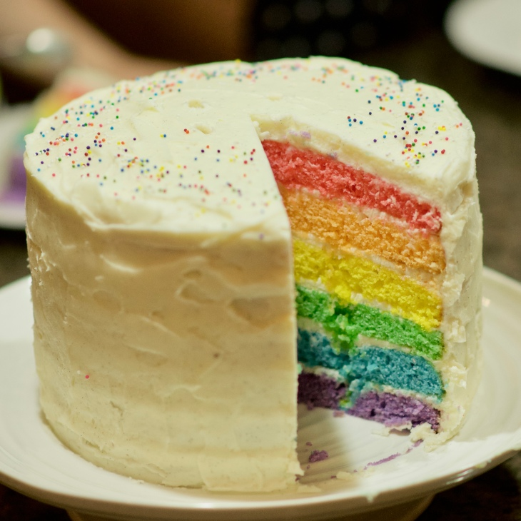 Rainbow Birthday Cake with cream cheese icing