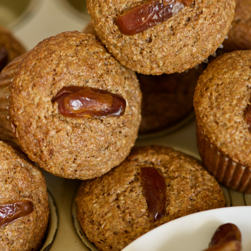bran muffin with honey and dates